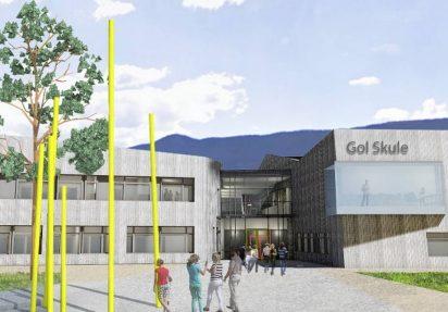 3D-modell av inngangspartiet til nye Gol Skule