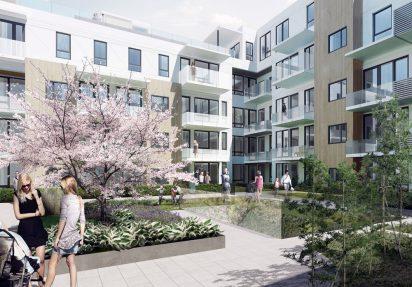 3D-visualisering av Bragernes Torg bakgård